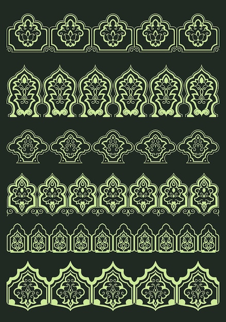 Perskie Ozdobne Kwiatowe Obramowania Z Abstrakcyjnymi Bujnymi Kwiatami I Tradycyjnymi Orientalnymi Elementami Dekoracyjnymi Do Projektowania Tekstu Lub Strony Premium Wektorów