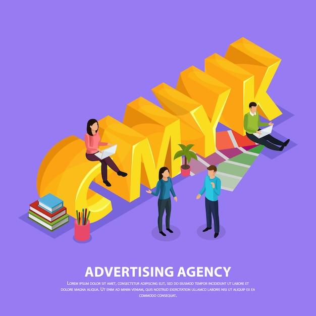 Personel Agencji Reklamowej Podczas Pracy W Pobliżu żółtego Napisu Cmyk Izometrycznej Kompozycji Na Fioletowo Darmowych Wektorów