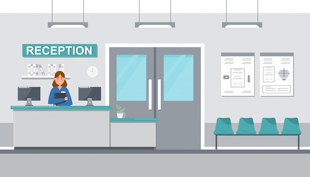 Personel Medyczny Kobiety W Recepcyjnym Szpitalu Na Mieszkanie Stylu. Premium Wektorów