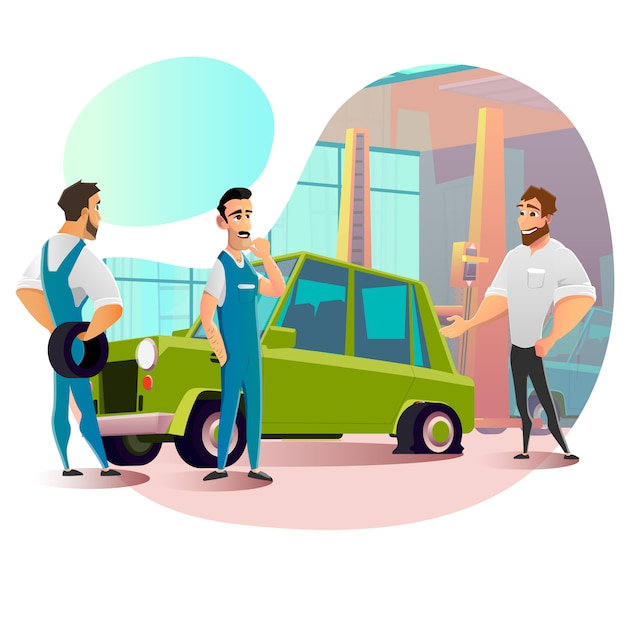 Personel Serwisowy I Przebijane Koło W Samochodzie Premium Wektorów