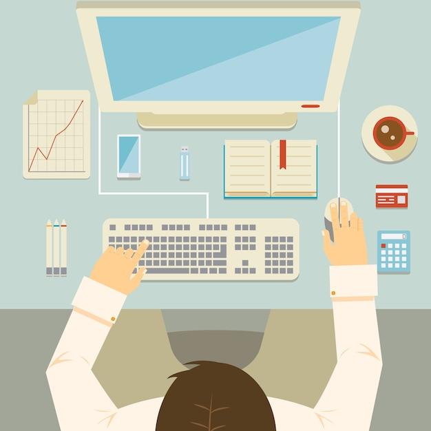 Perspektywa Narzutów Biznesmen Pracy Przy Biurku Przy Użyciu Klawiatury Komputera Stacjonarnego Myszy Kalkulator Wykres Karty Bankowej I Ilustracji Wektorowych Kawy Darmowych Wektorów