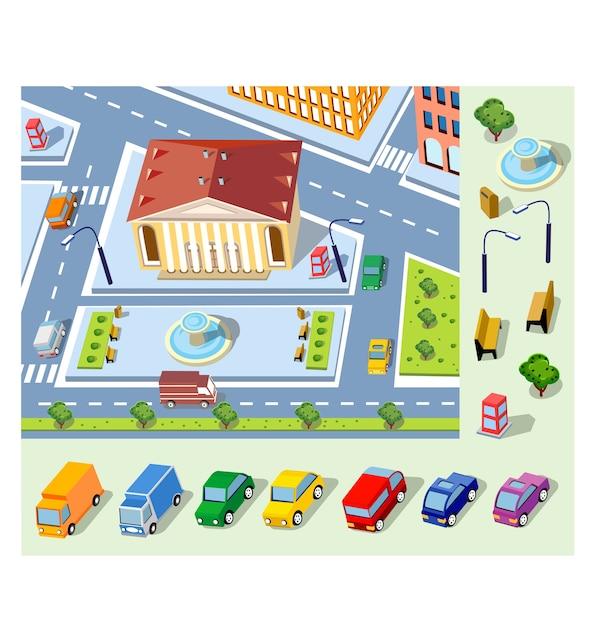 Perspektywiczny Widok Na Miejską Dzielnicę Miasta Premium Wektorów
