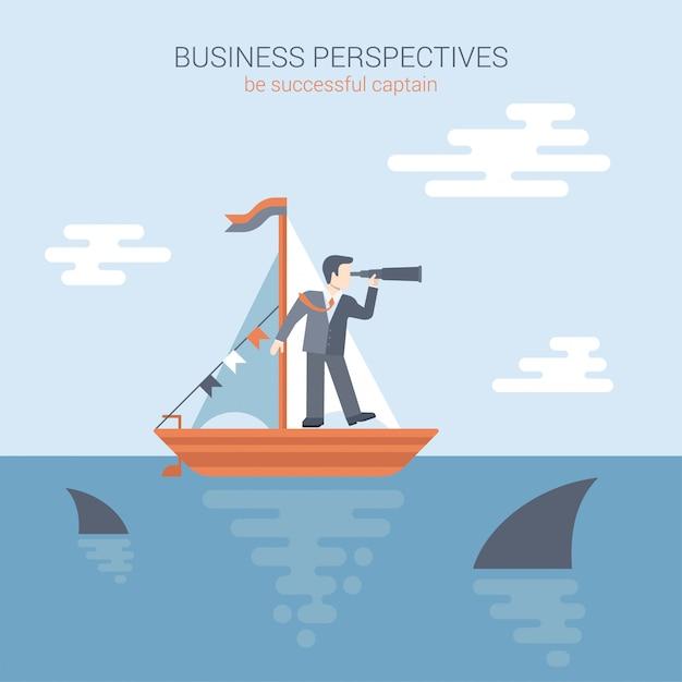 Perspektywy Biznesowe, Koncepcja Konkurencji Płaski. Biznesmenów Stojaki W Jachcie Patrzeje Przez Spyglass W Przyszłość W Oceanie Obfituje Z Drapieżczymi Rekinami Ilustracyjnymi. Premium Wektorów
