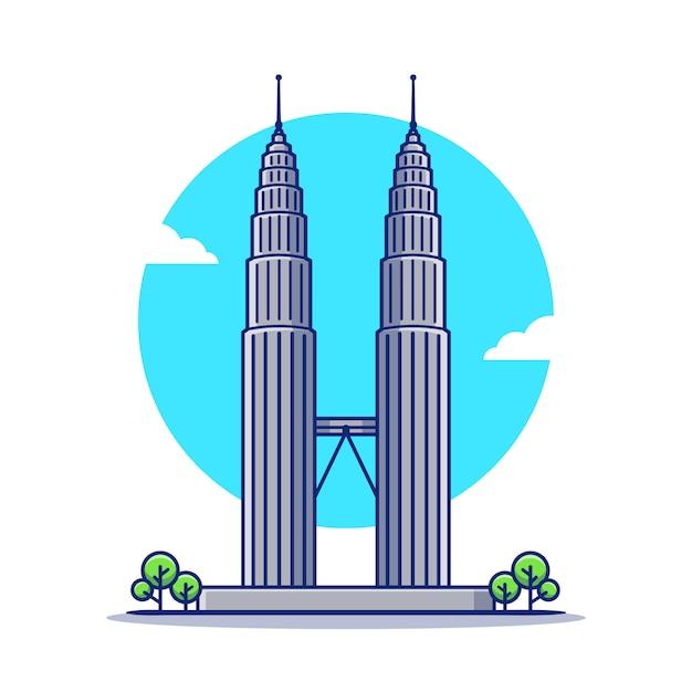 Petronas Twin Tower Kreskówka Ikona Ilustracja. Słynny Budynek Podróży Ikona Koncepcja Na Białym Tle. Płaski Styl Kreskówki Premium Wektorów