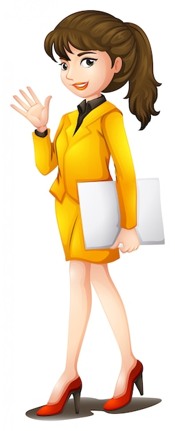 Pewna Siebie Kobieta W żółtym Mundurze Darmowych Wektorów