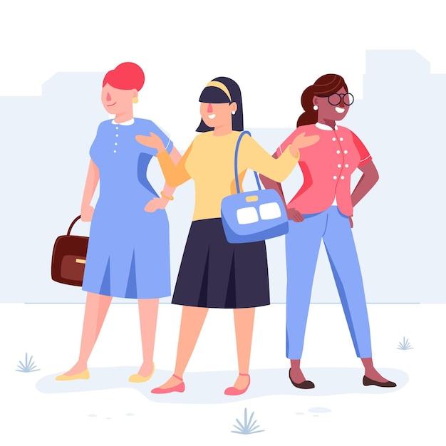 Pewne Kobiety-przedsiębiorcy Rysowane Ręcznie Darmowych Wektorów