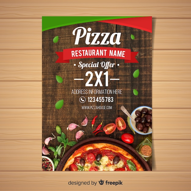 Photographic pizza restaurant flyer Darmowych Wektorów