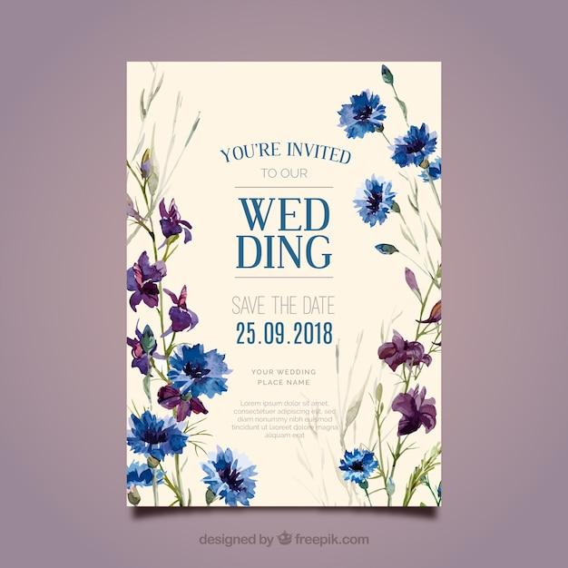 Piękny kwiatowy zaproszenie na ślub w stylu przypominającym akwarele Darmowych Wektorów