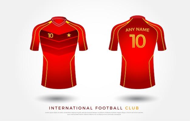 b2fa89cc4 piłka nożna t-shirt projekt munduru zestaw piłka nożna zestaw. koszulka  piłkarska czerwona i