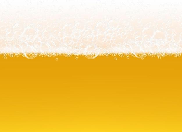 Piana Piwna. Przezroczysty Widok Makro Pęcherzyki Na żółtym Tle Realistyczny Szablon Płynny Napój Alkoholowy. Premium Wektorów