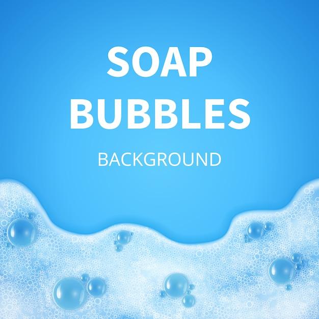 Pianka szamponowa z bąbelkami. tło wektor sud mydła. szampon mydło w tle, ilustracja Premium Wektorów