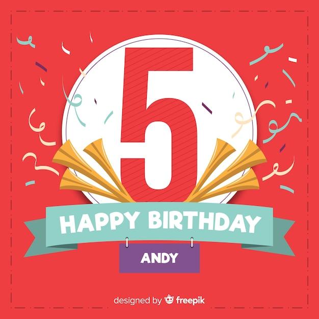 Piąta kartka urodzinowa z okazji przyjęcia Darmowych Wektorów