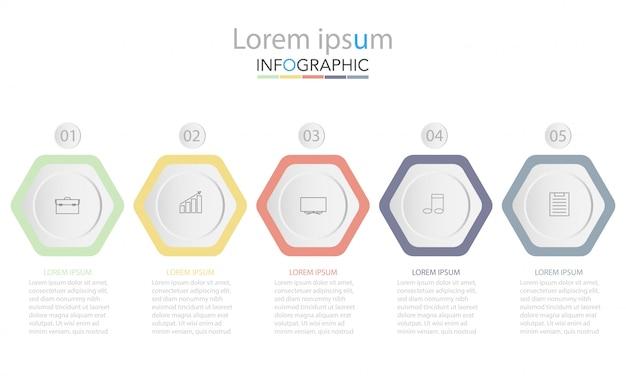Pięć kolorowych prostokątnych elementów, cienkie piktogramy, wskaźniki i pola tekstowe Premium Wektorów
