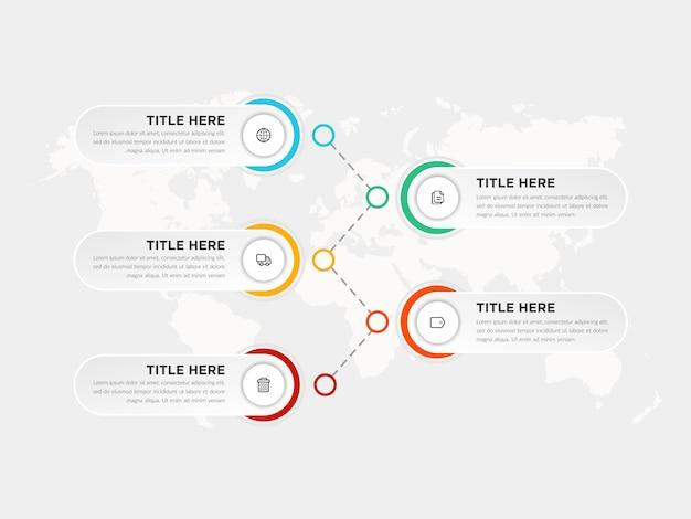 Pięć Kroków Infographic Element Strategii Biznesowej Z Ikonami Premium Wektorów