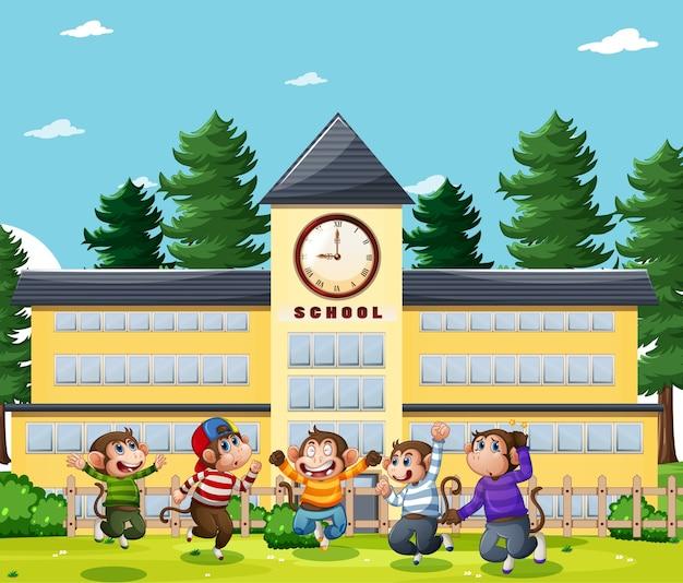 Pięć Małych Małpek Skaczących Na Placu Zabaw W Parku Premium Wektorów