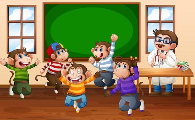 Pięć Małych Małpek Skaczących Po Klasie Z Lekarzem Premium Wektorów
