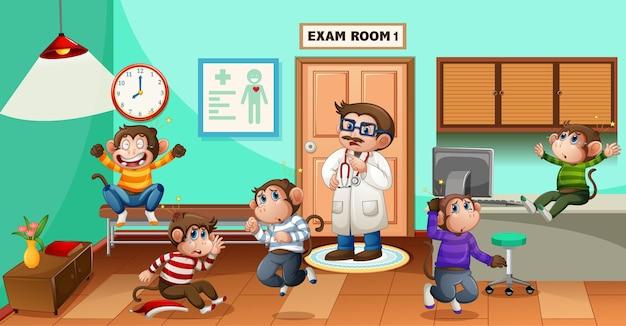 Pięć Małych Małpek Skaczących W Szpitalu Z Lekarzem Darmowych Wektorów