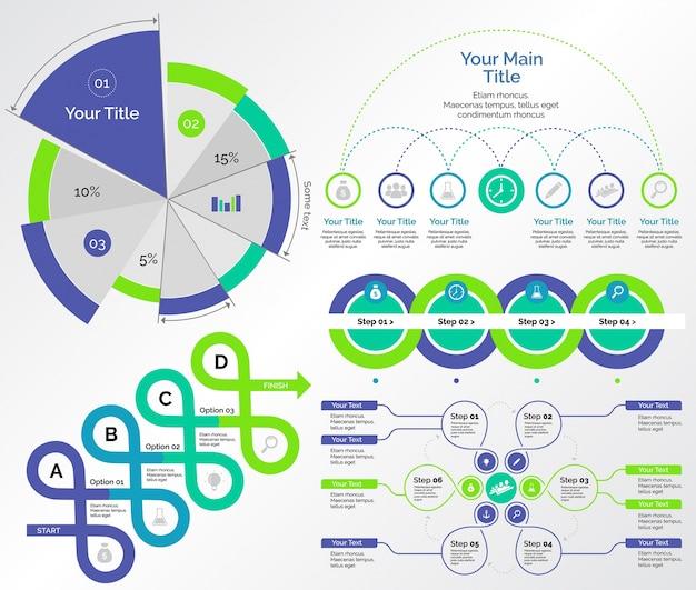 Pięć zestawów wykresów badawczych zestaw szablonów Darmowych Wektorów