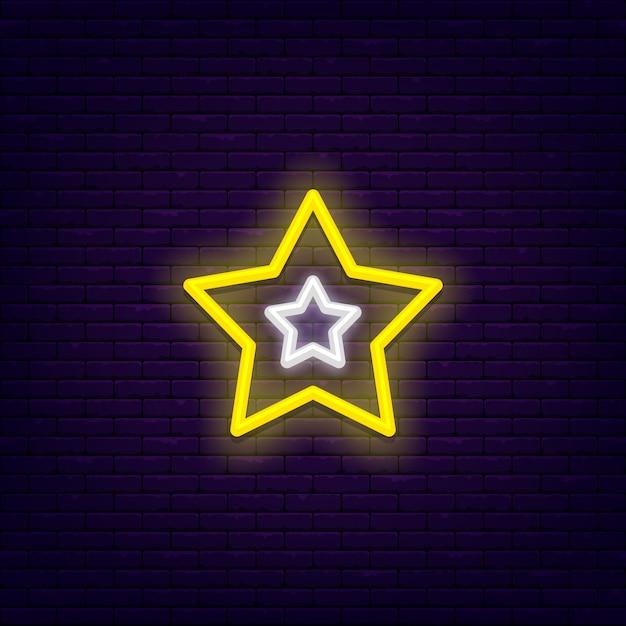 Pięciopunktowa Gwiazda Jasny, Jasny Neon Ginu Premium Wektorów