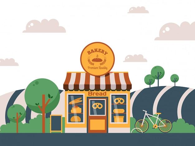 Piekarnia Lokalny Sklep, Fasada Małego Budynku W Krajobrazie Letnim Premium Wektorów