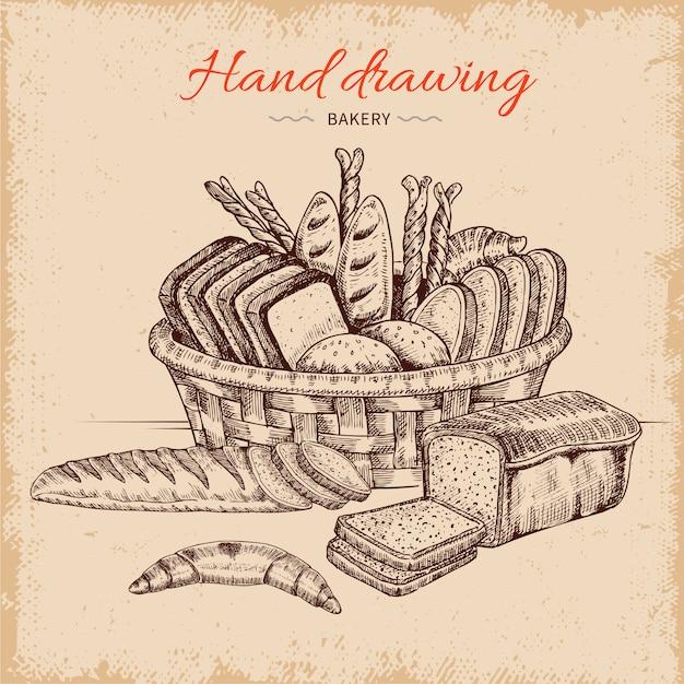 Piekarnia Ręcznie Rysowane Ilustracji Darmowych Wektorów