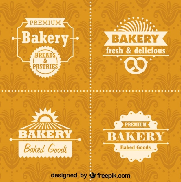 Piekarnia Retro Logo I Odznaki Zestaw Darmowych Wektorów