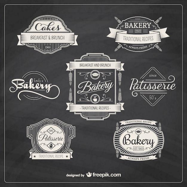 Piekarnia Retro Odznaki Darmowych Wektorów