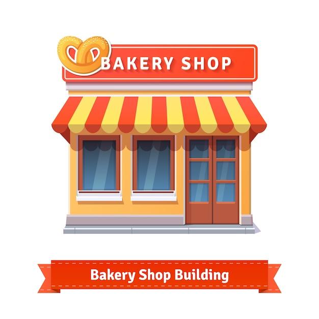 Piekarnia Sklep Elewacji Budynku Z Szyldem Darmowych Wektorów