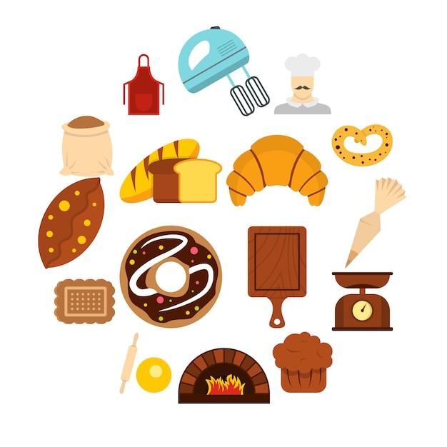 Piekarnia Ustawić Płaskie Ikony Premium Wektorów