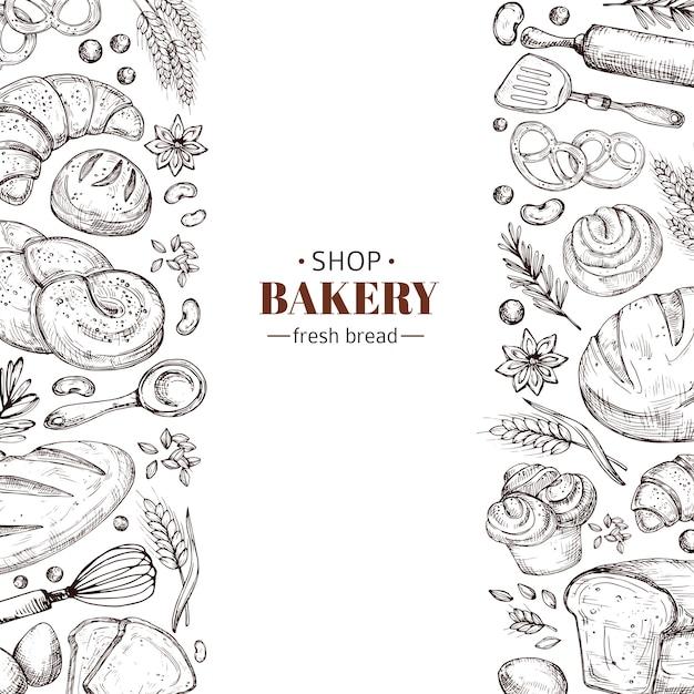 Piekarnia Wektor Retro Z Ręcznie Rysowane Doodle Chleb Premium Wektorów