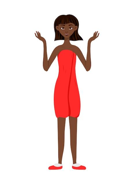 Piękna Afrykańska Kobieta Rozkłada Ręce. Styl Kreskówki. Premium Wektorów