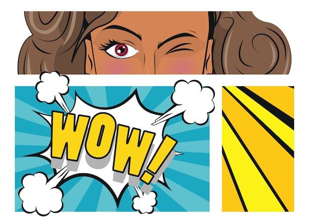 Piękna Brunetka Kobieta I Plakat W Stylu Pop-art Słowo Wow. Premium Wektorów