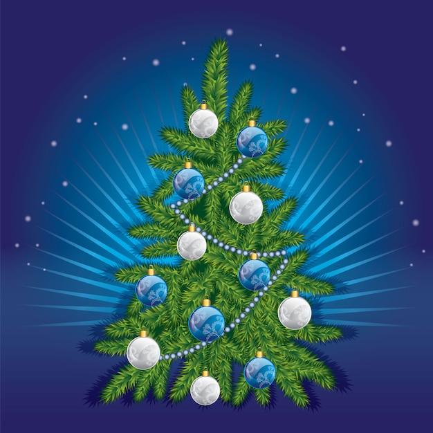 Piękna Choinka W Stylu. Ilustracja Do Karty Lub Plakatu. Nowy Rok I Boże Narodzenie. Premium Wektorów