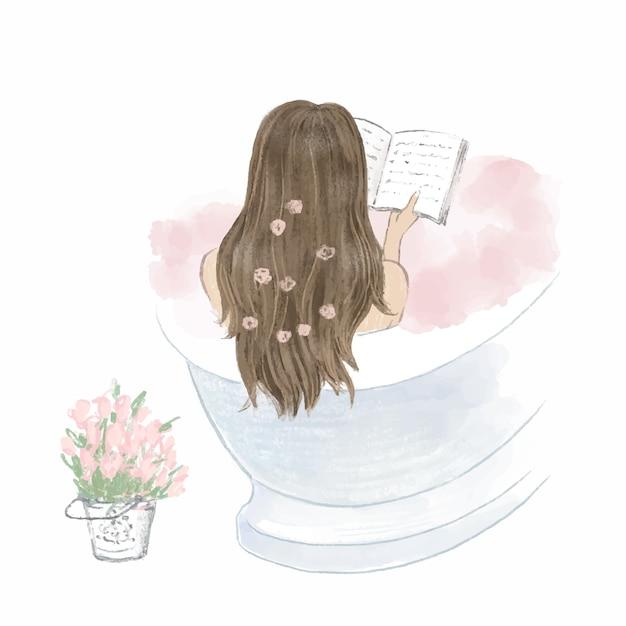 Piękna Dziewczyna Kąpieli I Czytając Książkę, Pamiętnik. Ręcznie Rysowane Ilustracji. Premium Wektorów