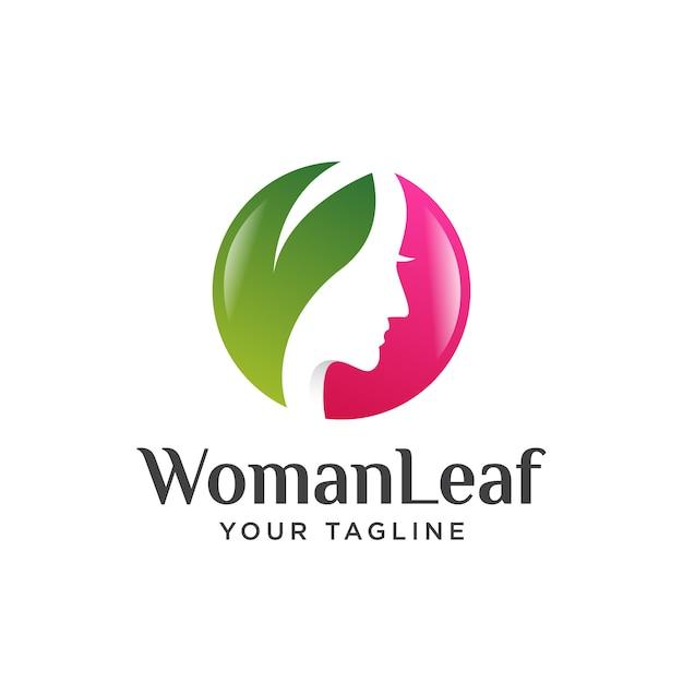Piękna Dziewczyna Liść Logo Nowoczesne Premium Wektorów