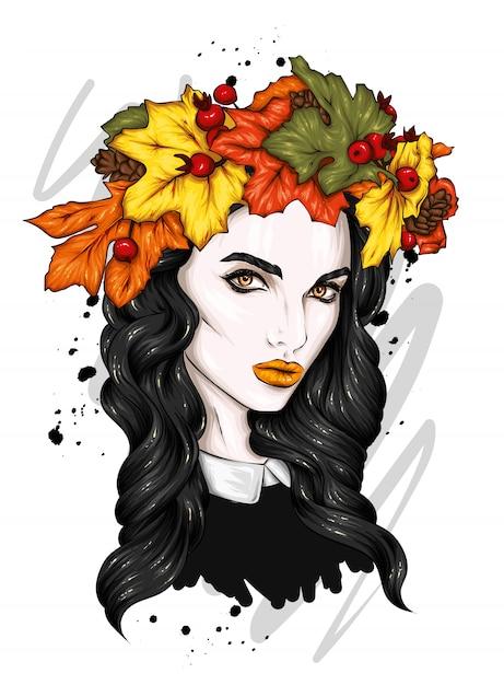 Piękna Dziewczyna Z Długimi Włosami W Wieniec Z Jesiennych Liści. Premium Wektorów