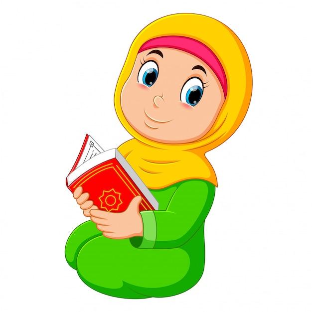 Piękna Dziewczyna Z żółtą Zasłoną Trzyma Al Koran Premium Wektorów