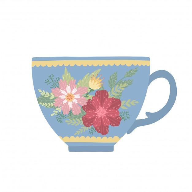 Piękna filiżanka z kwiatem i liśćmi odizolowywającymi na białym tle. elegancki kubek. Premium Wektorów