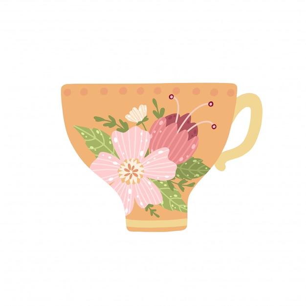 Piękna filiżanka z kwiatem i liśćmi odizolowywającymi na białym tle. Premium Wektorów