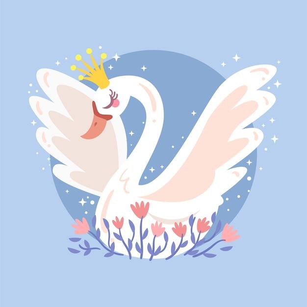 Piękna Ilustracja Białej łabędzi Princess Darmowych Wektorów