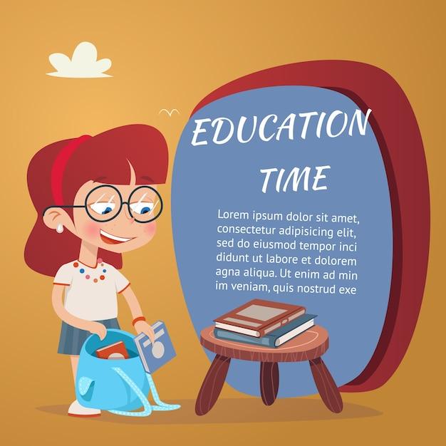 Piękna Ilustracja Edukacji Z Dziewczyną, Dodawanie Podręczników W Tornistrze Na Białym Tle Darmowych Wektorów