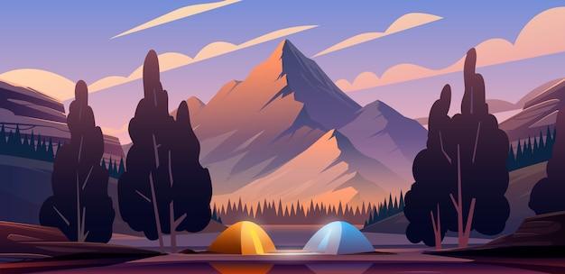 Piękna Ilustracja. Miejsce Biwakowe W Góry. Premium Wektorów