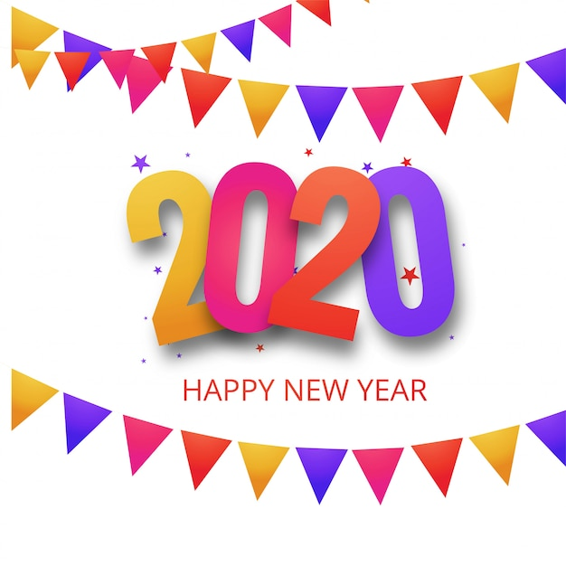Piękna Karta Obchodów Nowego Roku 2020 Festiwalu Darmowych Wektorów