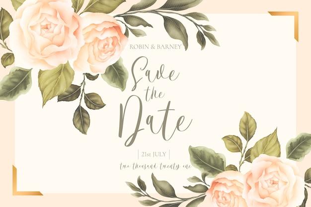 Piękna Karta ślub Kwiatowy Z Brzoskwiniowymi Piwoniami Darmowych Wektorów