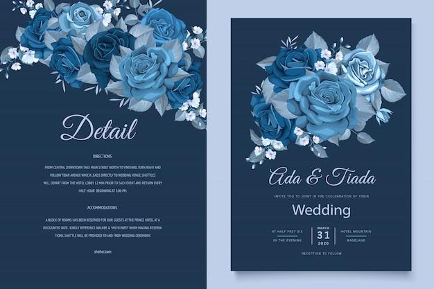 Piękna Karta Zaproszenie Na ślub Z Klasycznym Niebieskim Wieniec Kwiatowy Darmowych Wektorów
