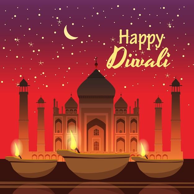 Piękna Kartka Okolicznościowa Na Wakacje Diwali Z Płonącym Majsterkowiczem, Tło Taj Mahal, Noc Premium Wektorów