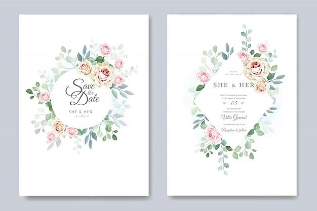 Piękna kartka ślubna w szablonie eleganckich róż Premium Wektorów