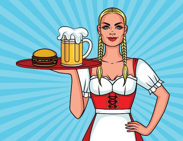 Piękna Kelnerka Na Festiwalu Oktoberfest Z Tacą Na Posiłek Premium Wektorów