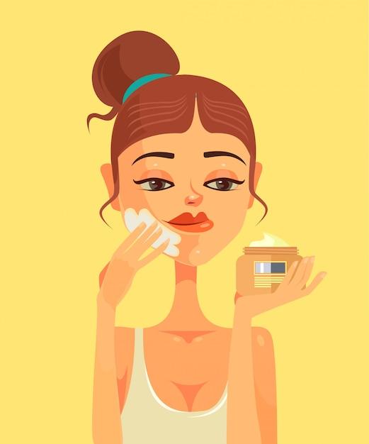 Piękna kobieta postać rozmaz krem do twarzy Premium Wektorów