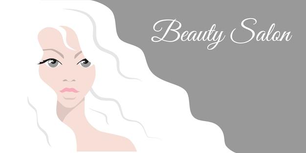 Piękna Kobieta Z Białymi Włosami. Premium Wektorów